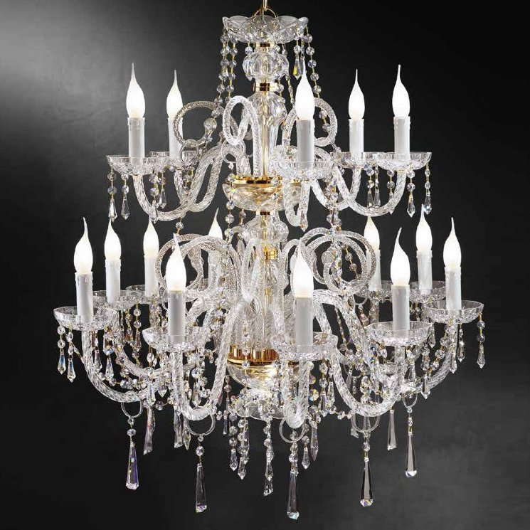 Люстра Beby Group Crystal 365/10+5 Light gold CUT CRYSTAL